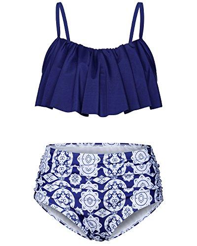 Damen Bikini Oberteil Vintage Sexy Bikini Set Push Up High Waist Hose und Oberteil Strand Niedlich Ruffles Beach Badeanzug Blue Blumen L -