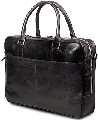 269015f55f0 dbramante1928 Rosenborg Leather Bag Briefcase for 16-Inch Laptop - Black