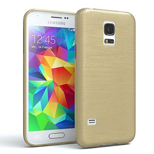 EAZY CASE Hülle für Samsung Galaxy S5 Mini Schutzhülle Silikon, gebürstet, Slimcover in Edelstahl Optik, Handyhülle, TPU Hülle/Soft Case, Backcover, Silikonhülle Brushed, Gold