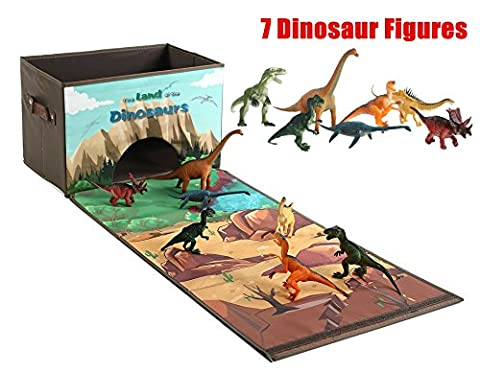 Dinosaur Storage Chest Box with 7 Dinosaurs, Gifts for Dinosaur Lovers, Educational Playset
