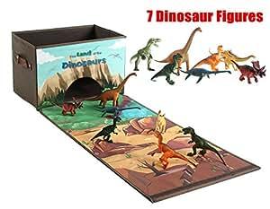 ausverkauf spielzeugkiste f r kinder aufbewahrungsboxen mit 7 dino figuren. Black Bedroom Furniture Sets. Home Design Ideas