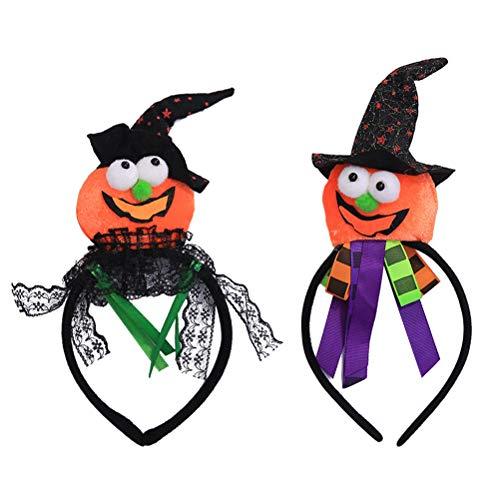 Amosfun 2 STÜCKE Halloween Stirnband Kürbis Haarband für Mädchen Frauen Halloween Kostüm Party (Niedliche Baseball-mädchen Halloween-kostüm)