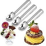 Set di 3 Cucchiaio porzionatore in acciaio inox per gelato, purea di patate, cucchiaio da cucina,purè di patate scoop maniglia cucchiaio Ice Cream Ball Maker anguria cucchiaio da cucina accessori (Argento brillante)