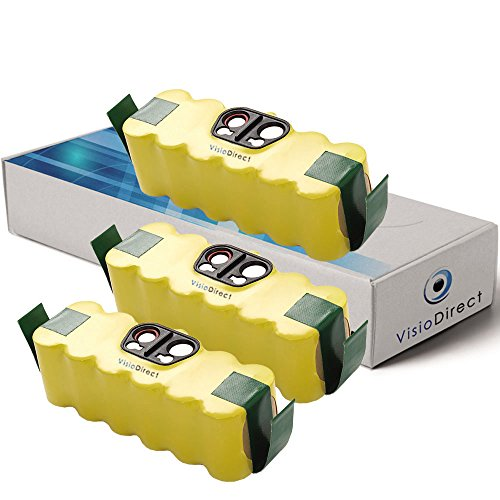 Visiodirect® Lot de 3 batteries pour Irobot Klarstein Cleanmate 14.4V 4500mAh