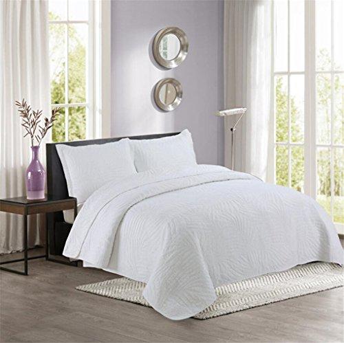 LMXJB 100% Baumwolle Super Soft Handgemachte Gesteppte Tagesdecke, Knie Decke Klimaanlage Quilt 1 Bett Quilt 2 Kissenbezug [Queen/King/Double],White,250 * 270cm -