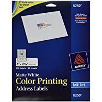 Inkjet Labels for Color Printing, 1 x 2-5/8, Matte White,