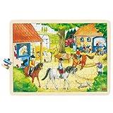 Goki 57843 - Einlegepuzzle - Reiterhof