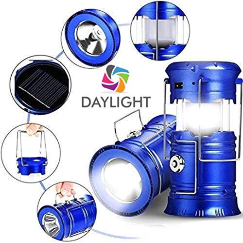 daylight INDIA 6 + 1 LED USB and Mobile Charging 2 Power Sources Power Lithium Battery Travel Camping Solar Emergency Light/Lantern with Cable (Colour Will Be As Per Stock)