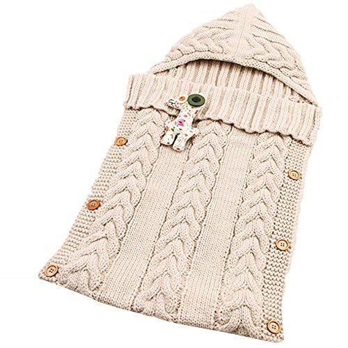 Neugeborenes Baby Kinderwagen Swaddle Decke Button-down Gestrickt Pucktücher Sicherheitsdecken für 0-12 Monat Baby Babydecken Mit Kapuze Kleinkind Wool Pyjamas Schlummersack (Beige)