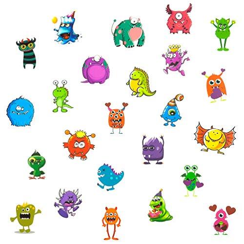 Oblique Unique® 24 lustige Bunte Monster Tattoo Sticker I Kinder Geburtstag Party I Temporäre Tattoos (Geburtstag Monster Party)