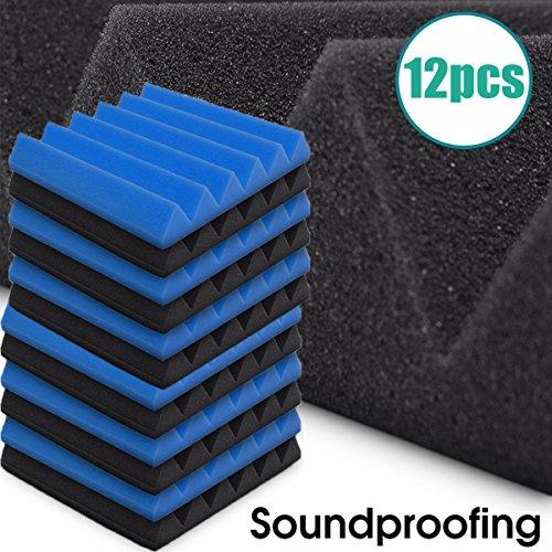 aissimio 12Pack 2Farben Schwarz und Blau Ei Box Akustikschaumstoff Panel DIY Design Studio Schalldämmung Wand Fliesen Sound Isolation mit gratis Montage Tabs 30x 30x 5cm/30x 30x 5,1cm - 30 X Tabs