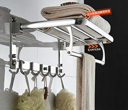 WEMUR Bathroom Towel Rack Free Punch Toilet Towel Rack Double Hanging Towel Bar 304 Stainless Steel Bathroom Pendant 49cm (Hardware Folding Shelf)