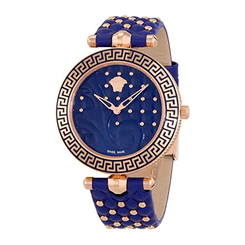Versace Damen Analog Quarz Uhr mit Leder Armband VK7740017