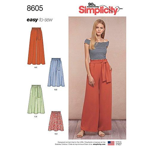 965f416b73a0 Simplicity 8605Pattern 8605 Damen Schlupfrock und Hose, Papier, Weiß, Gr. A  (