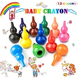 Keten Lápices de Colores para Niños, 12 Pinturas de Colores Infantiles, Lavables, No Tóxicas y Seguras - Ceras Crayones Juguetes Apilables para Bebés, Niños y Niñas