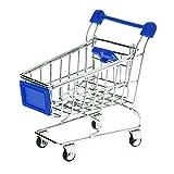 TuDu Modèle de chariot de supermarché Mini caddie Panier de rangement pour bureau–Bleu