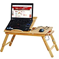 Folding Wooden Bamboo Serving Laptop Tray Lightweight Legs Table Breakfast Desk