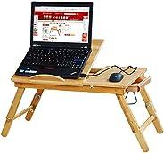 طاولة لاب توب خشبية من الخيزران قابلة للطي ذات وزن خفيف ومتعددة الاستخدامات