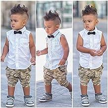para la ropa del bebé,Switchali Recién nacido Infantil Niños Chico corbata de moño CamisetaTops Pantalones de camuflaje 2 piezas linda moda fresco Conjuntos de Ropa Trajes