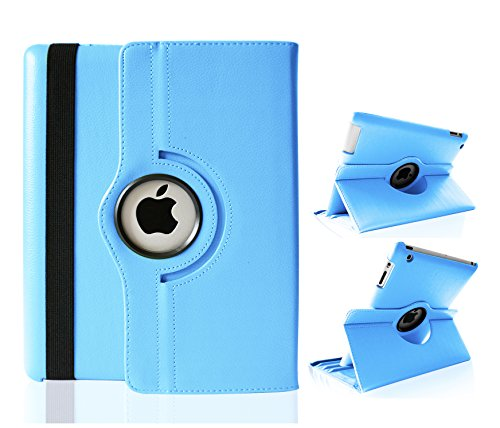 Top&Easy Tech® Premium Smart Cover PU Leder Tasche Case Schutz Hülle iPad 4 3 2 Hellblau 360 Grad Schwenkbar drehbar Schutzhülle Etui Horizontal & Vertical View Leather Cover mit An/Aus und Stand Funktion (Hellblau)