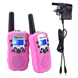 Upgrow 2pcs RT-388 Kids Walkie Talkies Children Walky Talky 0.5W 8 Channels PMR446MHz Rechargeable 2 Way Radio for Children, UK Charger, Built-in LED Torch VOX LCD Display
