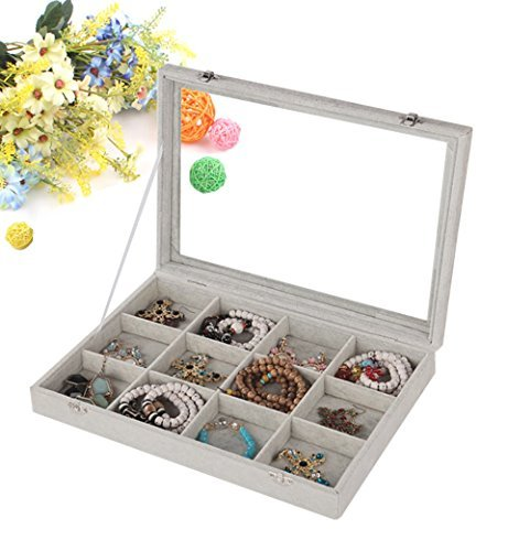 wuligirl Ice Samt klar Deckel Aufbewahrung Ohrringe Ketten Armband Jewelry Styling Organizer Display 12 Grid (Glas Top Gem Box)