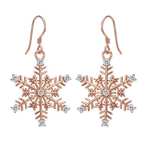 EVER FAITH® - Flocon de Neige - Boucle d'Oreilles Crochet Argent 925/1000 Zircon Fleur Hiver Ton Rose d'Or