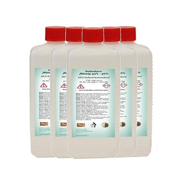 6dafb1f221b Acide chlorhydrique minimum 33 % article industriel 33-36 % HCL 5 l (5 ...