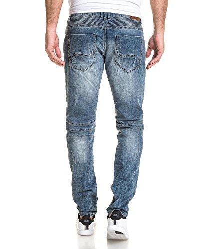 BLZ jeans - Jean bleu destroy biker slim nervuré Bleu