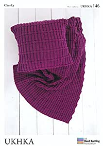 UKHKA 146 Knitting Pattern Throw and Cushion to knit in Chunky and Aran wool by UK Hand Knitting Association