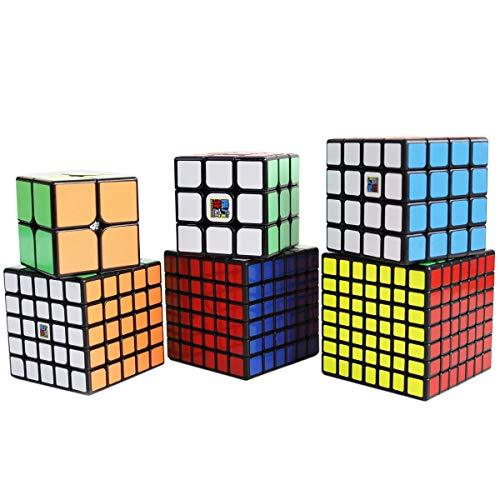Gobus MoYu MoFangJiaoShi Speed Cube 2x2 3x3 4x4 5x5 6x6 7x7 Zauberwürfel Puzzle Cubes Set, Packung mit 6 Puzzle Cubes Collection Geschenkset (Schwarz) -