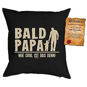 Kissen für Väter cooles Kissen mit Füllung und Urkunde Bald Papa Wie cool ist das denn! Geschenk für Papa zum Vatertag Weihnachten Geburtstag