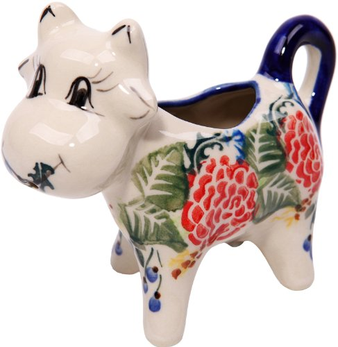 Polish Pottery Ceramika Boleslawiec 0501/280 Royal Blue Patterns with Red Rose Motif Creamer Cow, 1/3-Cup -
