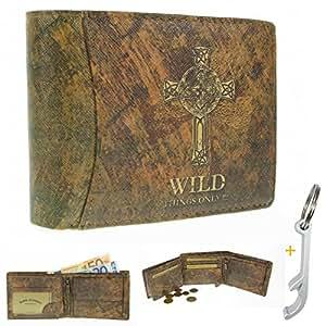 Look Usé 3544Homme Wild Things Only #. Portefeuille en cuir synthétique avec croix celtique