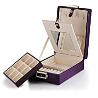 Purple Laminated Leather 2 Layers Travel Cruise Jewellery Storage Case Box w/ Lock & Mirror - Perfect Storage for Your Necklace / Bracelet / Earrings / Pendants