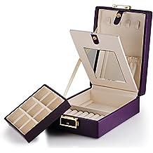 Viola Pelle laminata scatola portagioie viaggio stoccaggio caso per gioielli doppi lati con specchio e serratura, regalo per donne