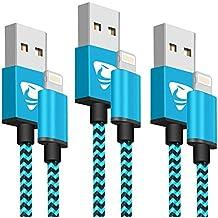 Cargador iPhone Rephoenix Cable Lightning 2M [3 Pack] Cable Trenzado de Nylon iPhone para iPhone 8 / 8 Plus / 7 / 7 plus / 6s / 6s plus / 6 / 6 plus / SE / 5s / 5c / 5, iPad 2/ 3 /4 Mini, iPad Pro Air, iPod (Azul)
