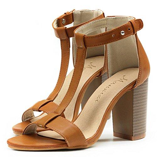 Azbro Women's Open Toe T-Strap High Chunky Heels Buckle Sandals Black