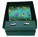 A smart boxed set of a Soprano green colour silk Country Birds Tie featuring Pheasant Partridge Grouse Woodcock and shotgun cartridge cufflinks