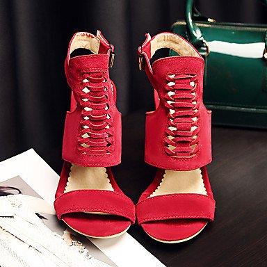 LvYuan Da donna-Sandali-Casual-Con cinghia-A stiletto-Microfibra-Nero Giallo Verde Rosso Yellow