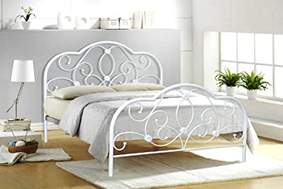 4ft6 Double White Metal Bed Frame Alexis - cheap UK bed shop.