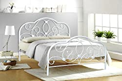 Alexis 4FT6 DOUBLE WHITE METAL BED FRAME