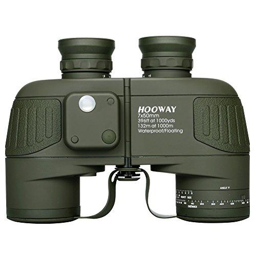 hooway 7x 50Marine Porro prismáticos con telémetro interior & compass-waterproof niebla & flotante