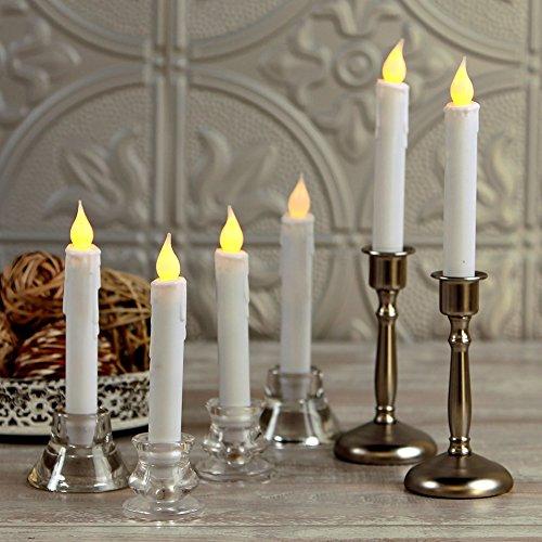 Set de 12 sin llama Mini cera empujada Led velas cónicas Batería Powered Nightlight Decoración Bulbo Stick para Festivales, Parte por Yiamuk (Long size)