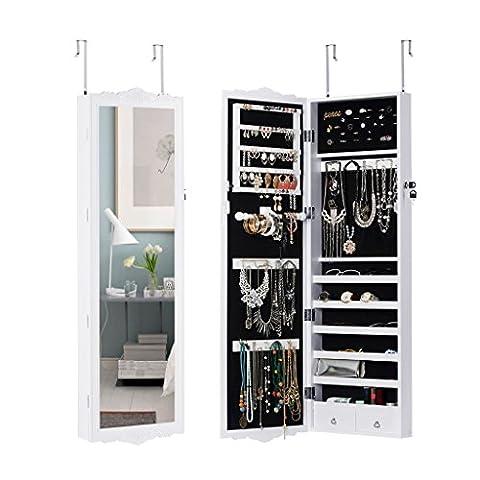 LANGRIA Full Length Lockable Wall Mount Over-the-Door Hanging Jewellery Cabinet