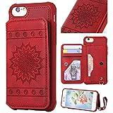 Hülle iPhone 8, iPhone 7 Hülle Stil Brieftasche Leder PU, MeganStore iPhone 6 Hülle Leder mit [Klappständer] [Kartenfächer] für Apple iPhone 6/7/8 rot