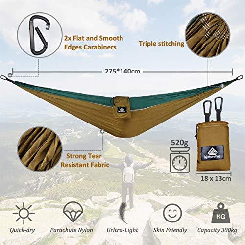 NatureFun Ultraleichte Camping Hängematte / 300kg Tragfähigkeit, Atmungsaktiv, schnell trocknende Fallschirm Nylon / Enthalten 2 x Premium Karabinerhaken 2x Nylonschlingen / Fürs Freie oder einen Innengarten - 3