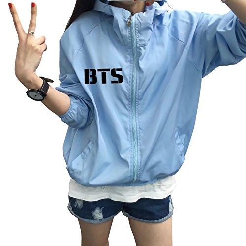 JHion KPOP BTS Printemps Candy Couleur Mince Veste ¨¦Tudiant Protection Solaire v¨ºtements BTS BLEU