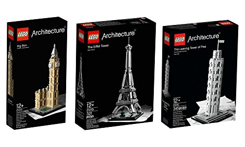Lego European Architecture 3 Set Bundle - Eiffel Tower 21019 Big Ben 21013 Tower Of Pisa 21015 By Lego Picture
