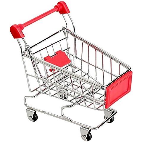 Tenflyer Mini carretilla de mano compras utilidad cesta modo de almacenamiento (Rojo)
